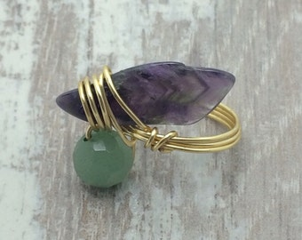 Amethyst and aventurine gold wire wrapped ring