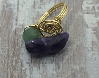 Amethyst and aventurine gold wire wrapped ring purple gemstone gold ring