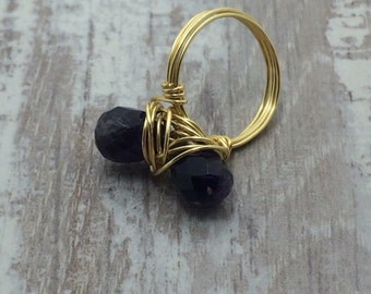 Faceted teardrop amethyst wire wrapped ring gold