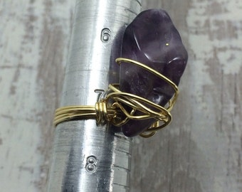 Amethyst wire wrapped ring gold