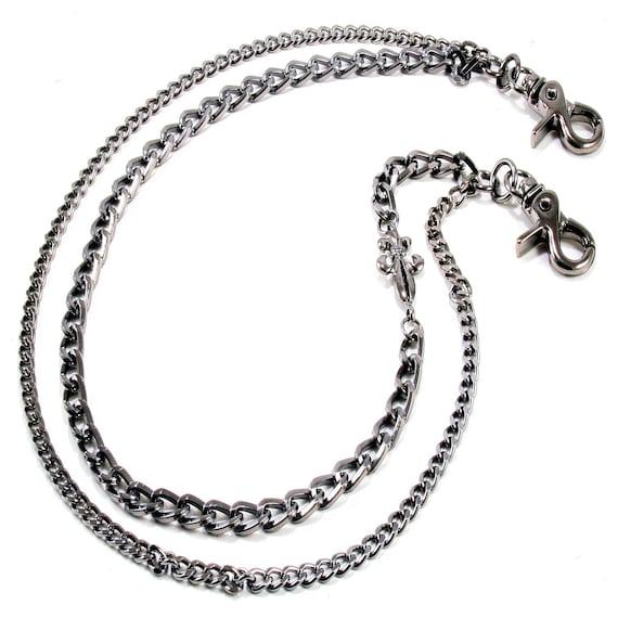 """22/"""" Genuine Leather Braided Twisted Trucker Rocker Biker Key Jean Wallet Chain"""
