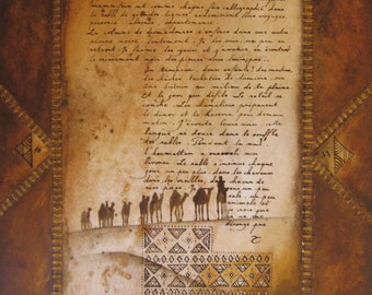 Reproduction of painting - art print - poetic letter - another night - letters of the desert collection
