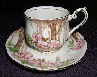 Royal Albert Crown China~Trees & Pink Wild Roses~1930's~Made in England