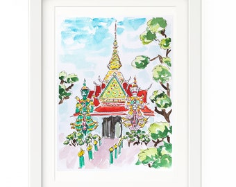 Painting temple in Chiang Mai, Thailand. Watercolor painting Thailand. Original art temple. Chiang Mai painting. Travel art. Gift Thailand.