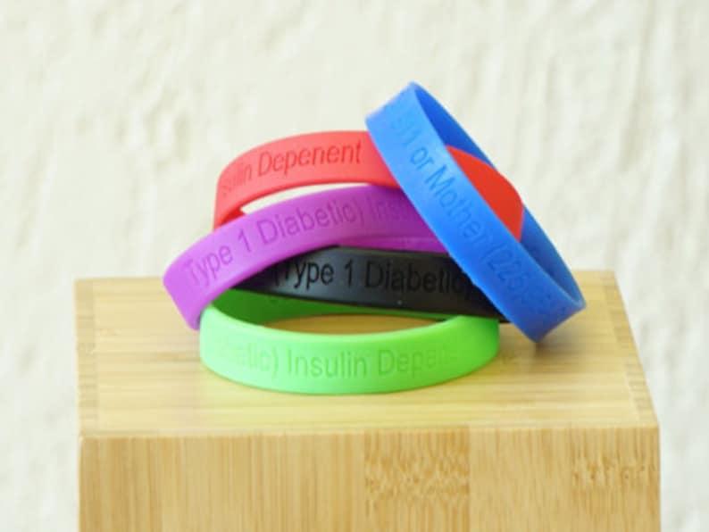 Rubber diabetic alert wristband Custom silicone bracelet with name Custom diabetic alert bracelet Custom bracelet with contact info