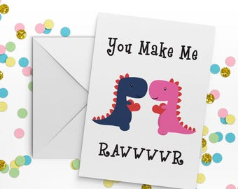 Cute couple card, gay anniversary card, romantic birthday card, dinosaur card, card for boyfriend, card for girlfriend, dinosaur print.