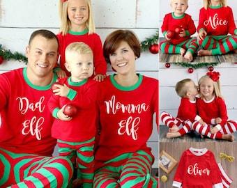 personalised christmas pajamas matching christmas pyjamas elf pajamas family christmas outfit christmas pjs elf stripe pajamas