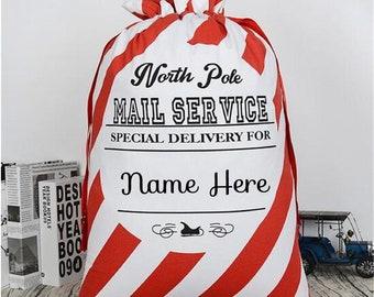 e99112b45596e Personnalisé Santa Sack-premier Noël sac-sac de Santa Stripey-pôle Nord sac-nom  sac-décor de Noël personnalisé