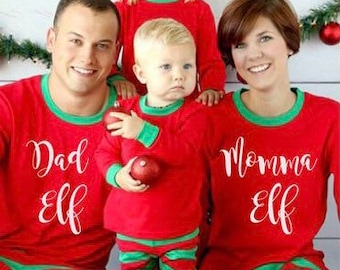 a1d2d5f0bb Personalised Christmas Pajamas - Matching Christmas Pyjamas - Elf Pajamas - Family  Christmas Outfit - Christmas PJs - Elf Stripe Pajamas