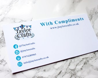 Compliment slips, thank you for your order, loyalty card, customer loyalty, with thanks, compliment cards, customer appreciation card.