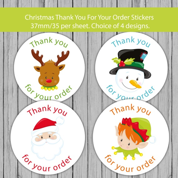 Christmas Stickers.Christmas Thank You Stickers Santa Stickers Thanks For Your Order Labels Thank You Label Merry Christmas Sticker Happy Holidays Sticker