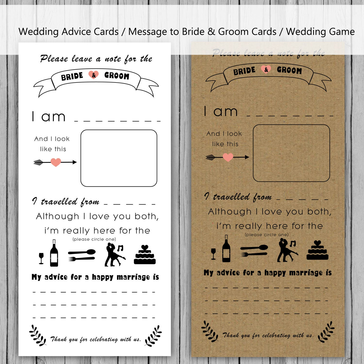 Multipack Wedding Advice Card Message To Bride And Groom