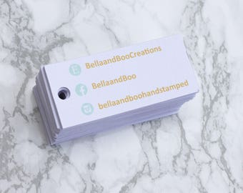 slim product tags - 30 per set - 7x3cm, mini business tags, business branding, retail supplies, craft fayre supplies, event display ideas.