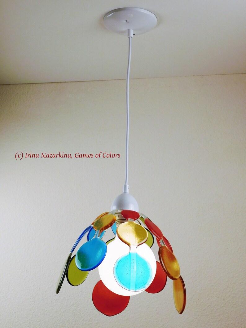 art glass room decoration white cord original design A decorative pendant light Sunny Bubbles fused glass