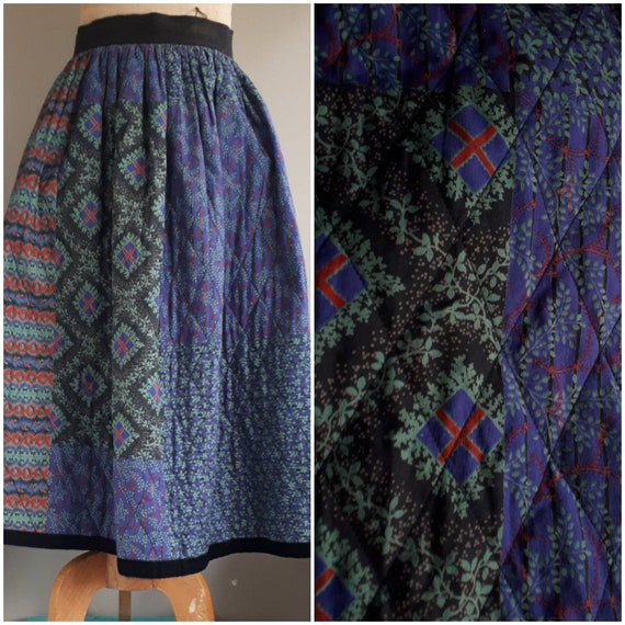 Souleiado skirt Provencal creation 80s quilted pat
