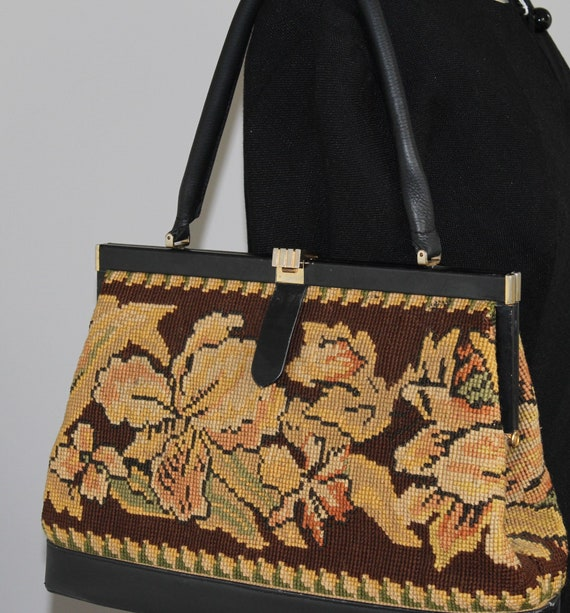 50s tapestry and leather bag , gorgeous inside