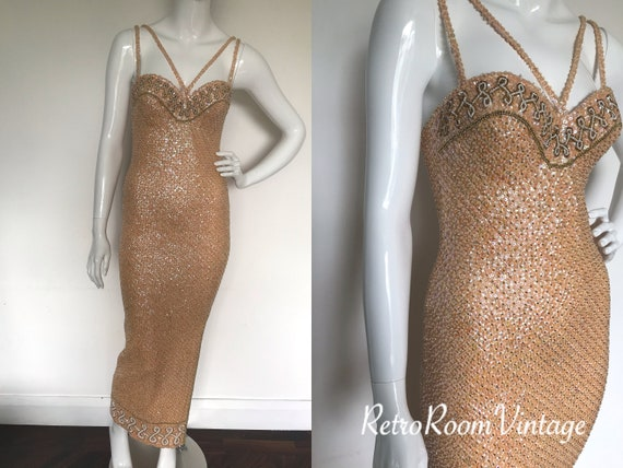 Spectacular vintage / sequins beaded skin tight ev