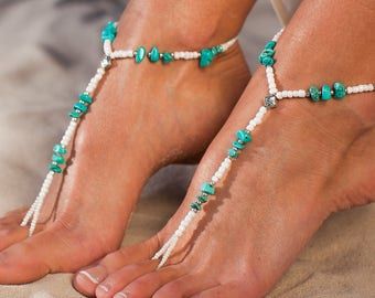 Turquoise gemstones barefoot sandals, Bohemian barefoot sandals, Destination wedding, Beach wedding boho bride, Footless sandals