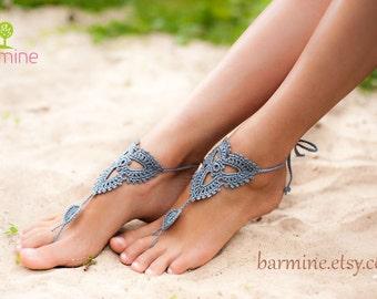 Mint Emerald Crochet Barefoot sandals Barefoot sandal Beach  317caee38414