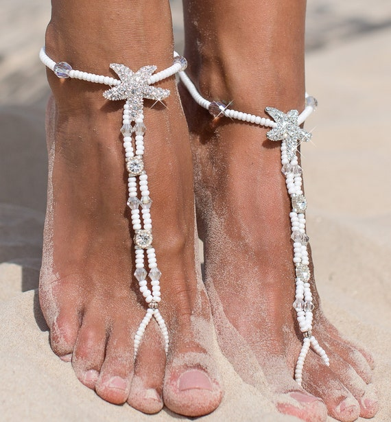 dfee94ac8615 White Beaded barefoot sandals Bridal foot jewelry Starfish