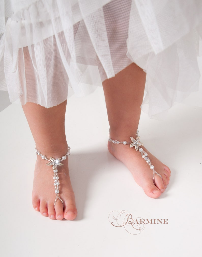 40d2fd3ca99496 Flower girl barefoot sandals Beach wedding Starfish barefoot