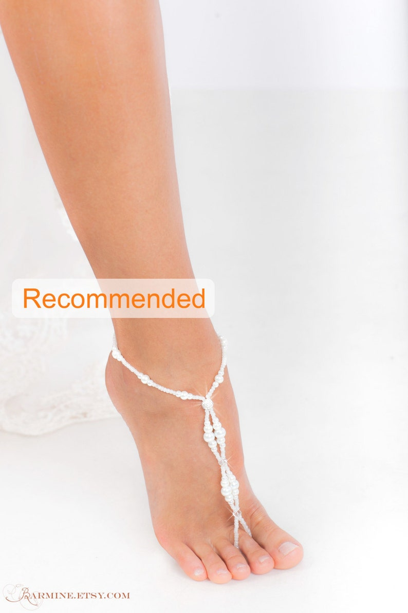 de5acf4dbd5b65 Beaded barefoot sandals Bridal foot jewelry Pearl and
