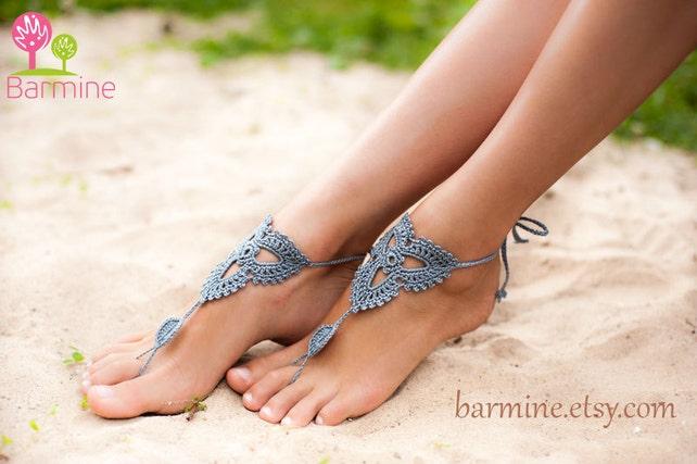 Gray häkeln barfuss Sandalen barfuß Sandale Strandsandalen | Etsy