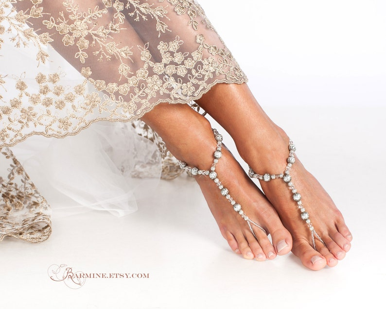 abca37c43752ae Beaded barefoot sandals Bridal foot jewelry Beach wedding