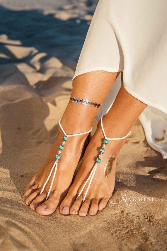 Sandales turquoise pierres précieuses, bohème sandales aux pieds nus, mariage à Destination, jeune mariée bohème de mariage plage, sandales Footless