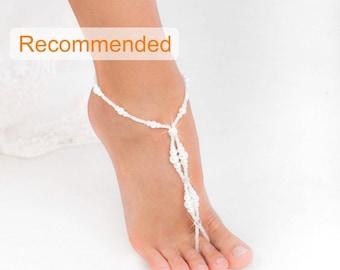 Wedding barefoot sandals, Bridal foot jewelry, Pearl and Rhinestone Beach wedding Barefoot Sandals, Barefoot sandles, Wedding Shoes, Sandal