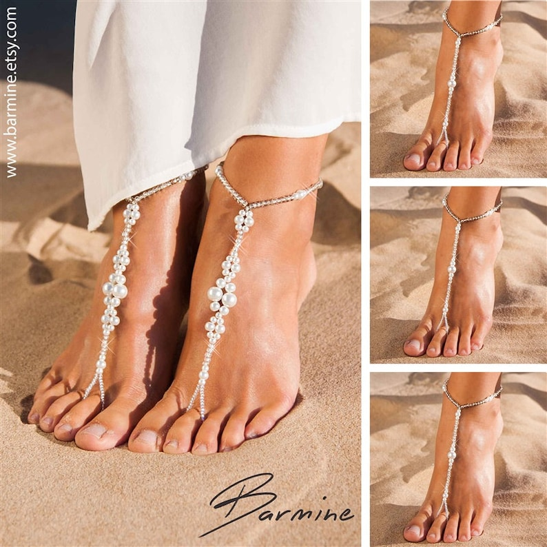 ae1221c9a4c40a Matching set of bridal party barefoot sandals Bridal jewelry