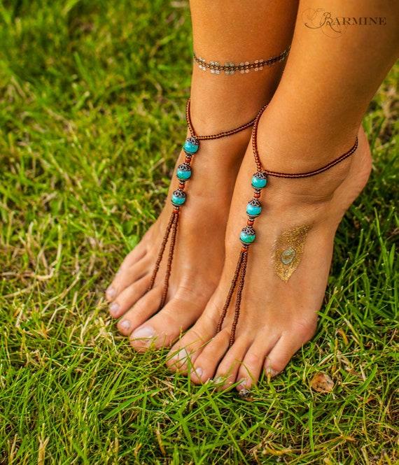 Barefoot sandals Beach wedding Turquoise bottomless sandals