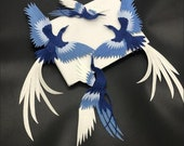 A sets (4 pcs) Embroidered flying birds Applique Patch,Vintage Birds Patch for Clothing or Dress,Decoration Embroidery Appliqués