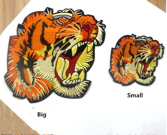 BIG grande taille Blue Tiger brodé Iron On Patch Coudre Applique Mercerie