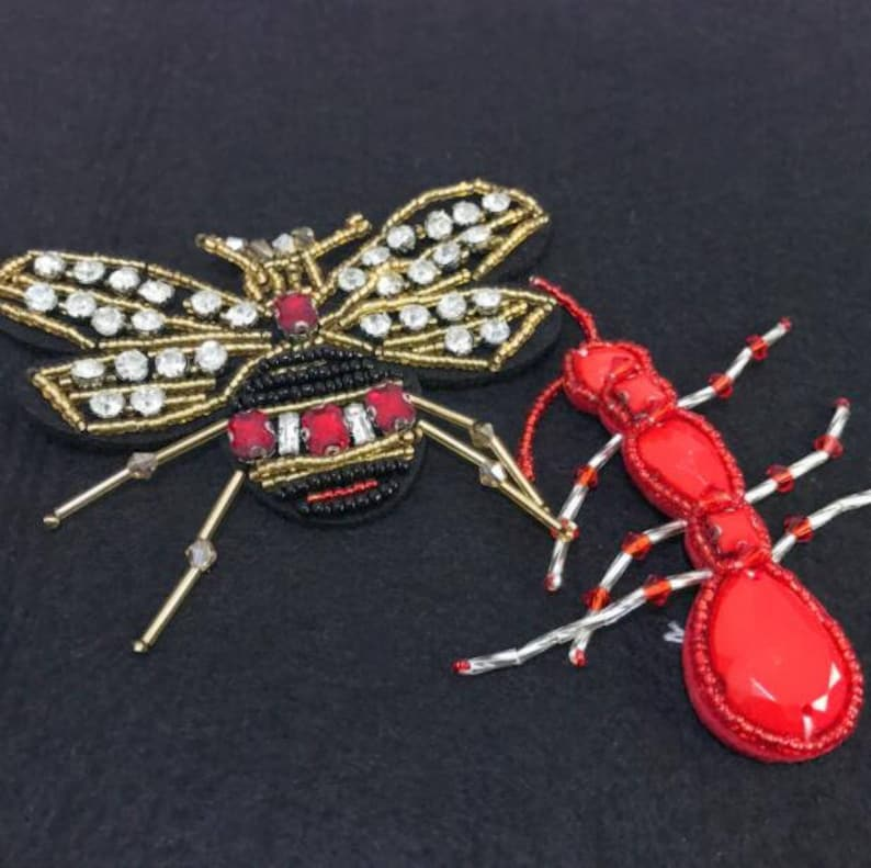 Crystals Insect Applique,Beaded Scorpion patch,Embroidered Scorpion Applique for Jackets,backpacks,denim jacket,collar,shoes,sweater,skirts