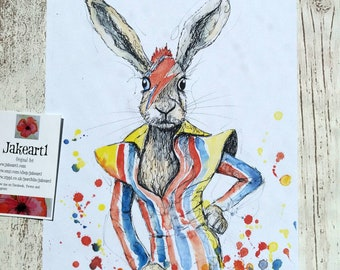 Hares, bunnies, art print, David Bowie, music lover's gift, Bowie, gift for him, hare, rabbits, fantasy animal, rock star, fantasy art,