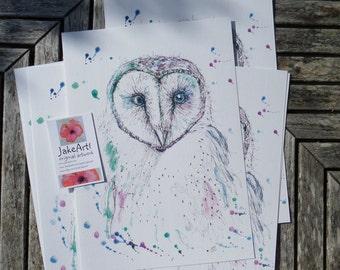 Owls, fantasy owl, art print, barn owl, wildlife art, owl art, bird lover's gift, gift idea, gift for her, gift for him, fantasy art, birds