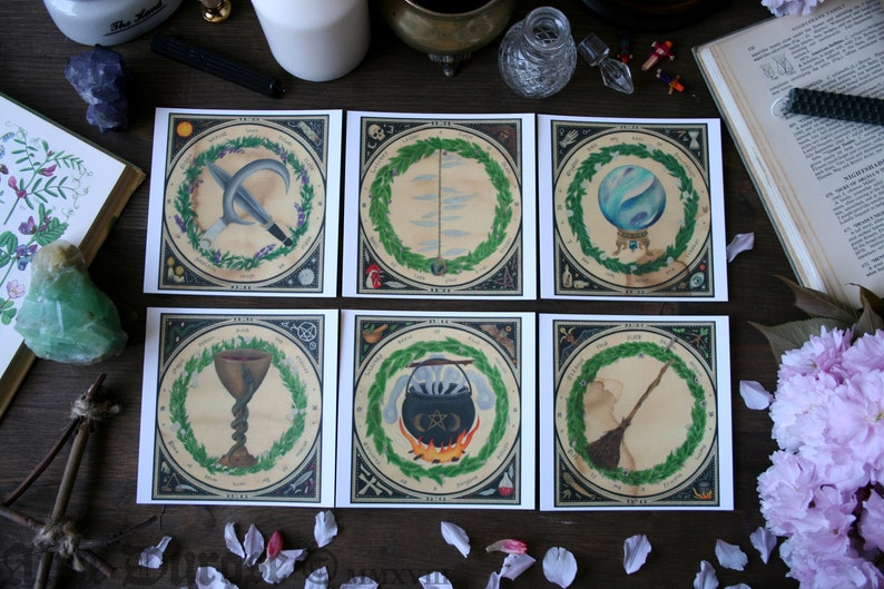 Set of 6 /'The Witches Craft/' Square Postcards 12cmx12cm Print Magic Occult Witchcraft Pagan Wicca Postcard Set