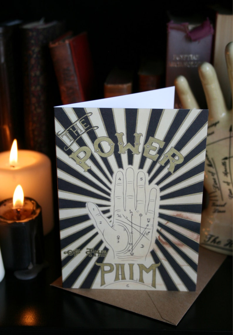 Palmistry A6 Greeting Card. Fortune Telling Gypsy art print image 0