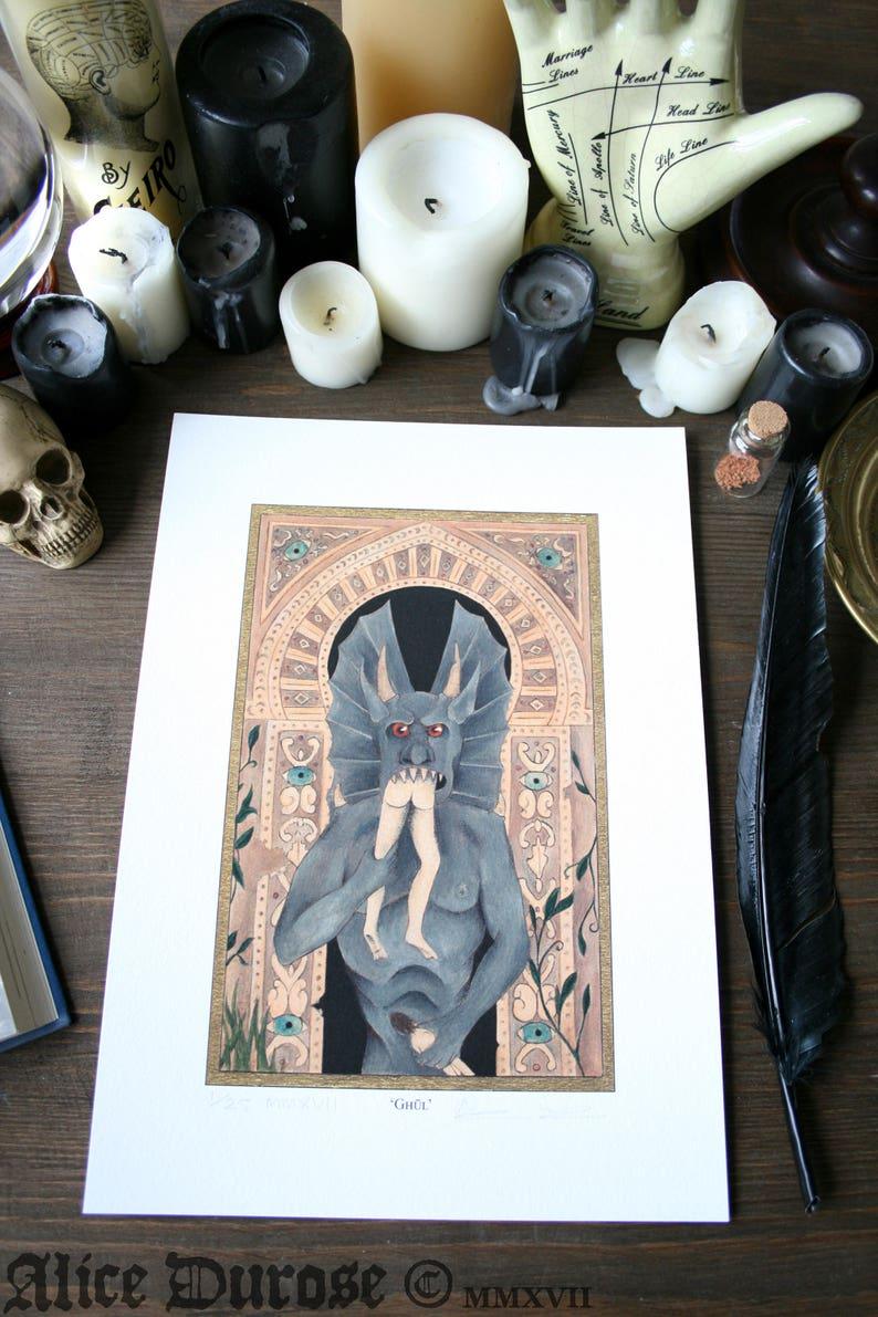 Ghul A4 Fine Art Print. Ghoul Demon Satanic Evil Monster image 0