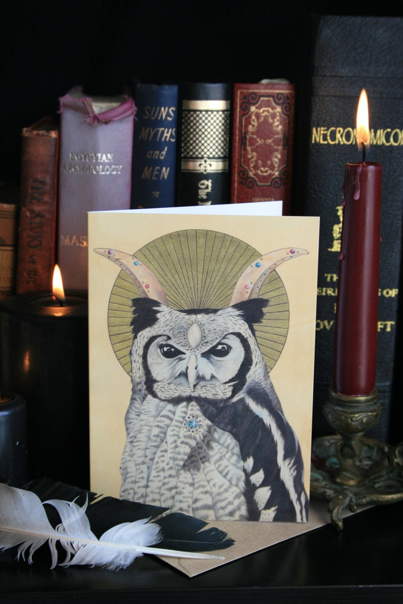 Giant Eagle Owl: Inner sight A6 Greeting Card. Occult Owl image 0