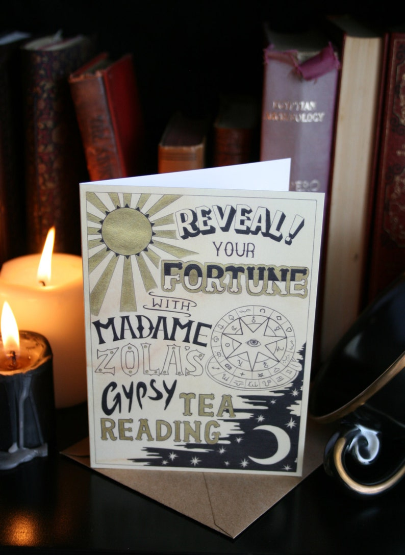 Tea Reading A6 Greeting Card. Fortune telling gypsy art image 0