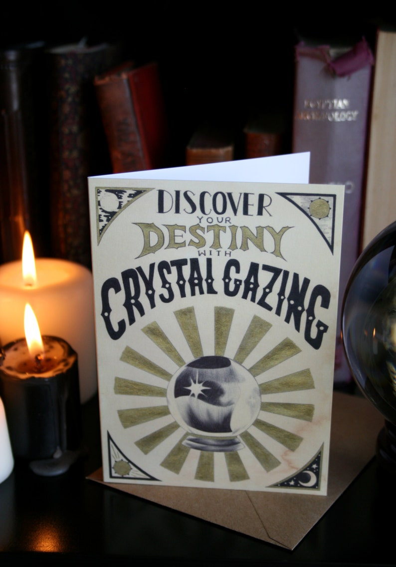 Crystal Ball A6 Greeting Card. Fortune Telling Gypsy art image 0