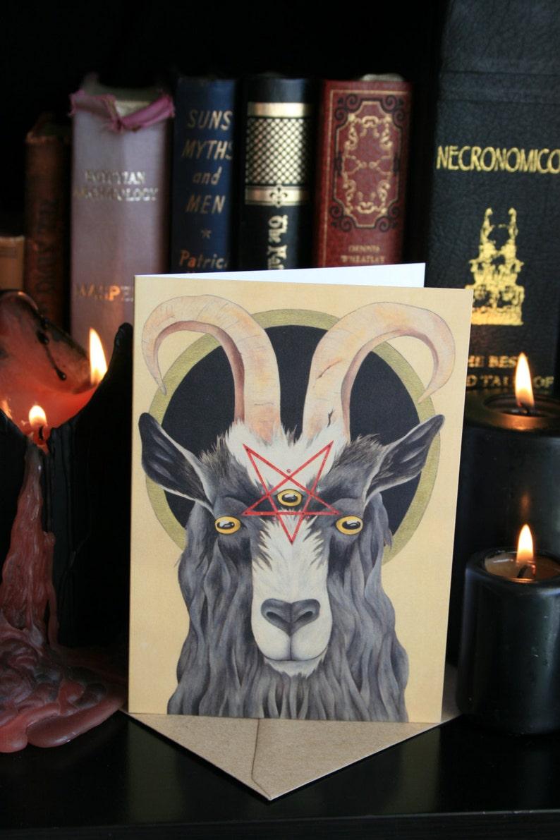 Feral Goat: Hail Baphomet A6 Greeting Card. Satanic Goat image 1