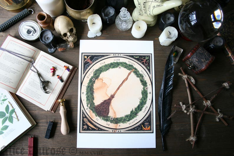 Besom Broom A4 Fine Art Giclee Print Magic 'The Witches image 0