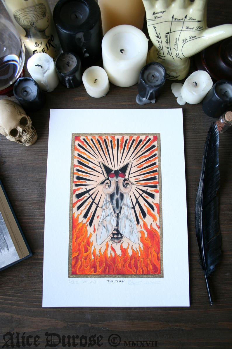 Beelzebub A4 Fine Art Print. Demon Fly Evil Lord of the image 0