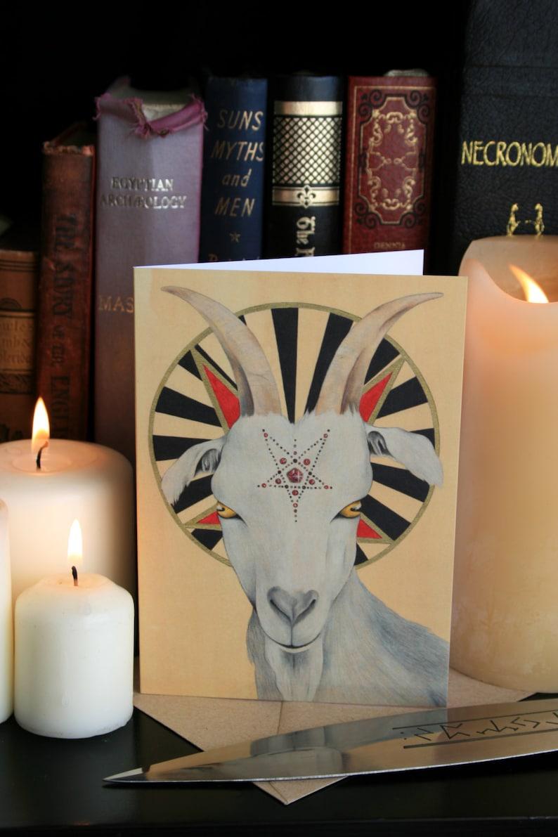 Satanic Goat: Blood Sacrifice A6 Greeting Card. Sabattic image 0