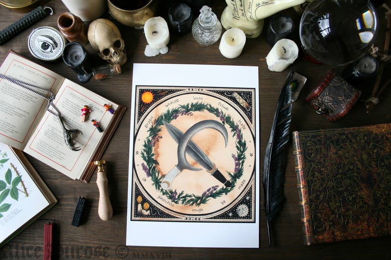 Ritual Daggers A4 Fine Art Giclee Print 'The Witches image 0