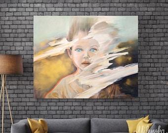"Original large Child Portrait, Golden and Brown Artwork 32x40"" (80x100 cm)"