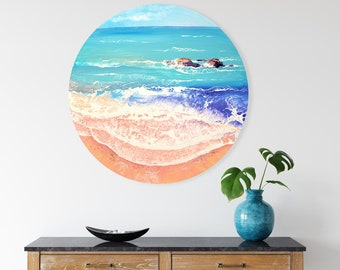Pink Shore - Original Seascape Painting on Round Canvas, 70 cm, Ready to Hang